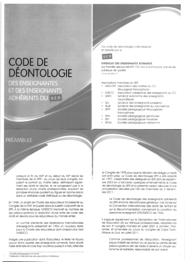thumbnail of Code de déontologie du SER – 2012