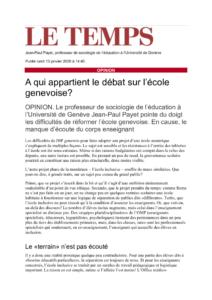 thumbnail of Le Temps_13janvier2020_A qui appartient le débat sur l'école genevoise?